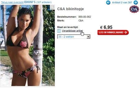 Wehkamp.nl biedt een link naar 'vergelijkbare artikelen' indien het artikel niet direct beschikbaar is.