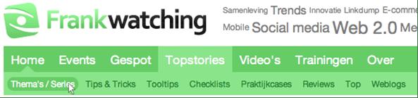 Afb. 3: De gebruiker probeert vanaf home naar Thema's/Series -een onderdeel van Topstories- te navigeren