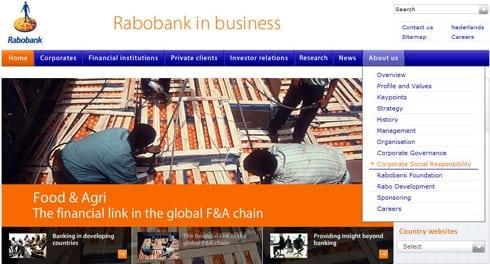 MVO-communicatie ontsloten onder het hoofdnavigatie onderdeel 'About us' op de corporate website van Rabobank