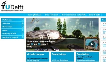 Navigatie van oude TU Delft homepage