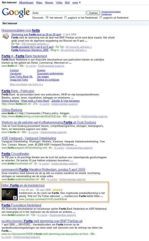 Een Youtube video of andere uiting kan ongewenst hoog in de natuurlijke zoekresultaten terechtkomen