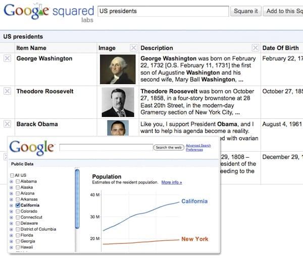 Google Squared & Public Data
