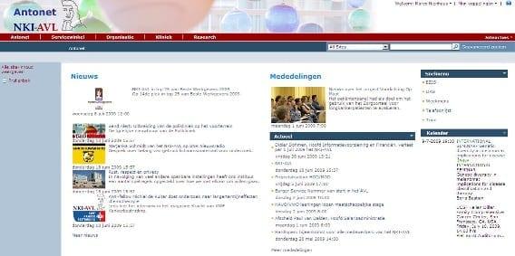 Homepage NKI Intranetportal