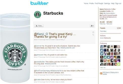 Starbucks op Twitter