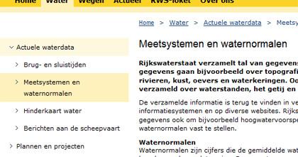 Voorbeeld van lokale navigatie (Rijkswaterstaat.nl)