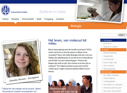 Voorbeeld van een website met menu aan de rechterkant (Universiteit Leiden)