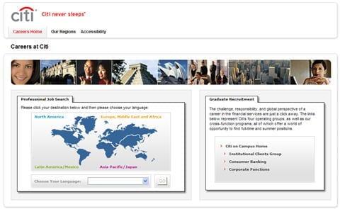 Screenshot: Citi recruitment site met stock foto's
