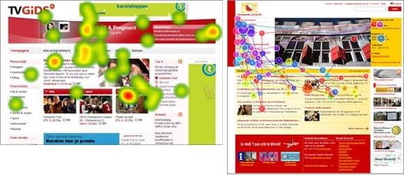Voorbeelden van kijkgedrag op tvgids.nl en de gemeente Utrecht, waar banner-achtige items rechts onder worden genegeerd.