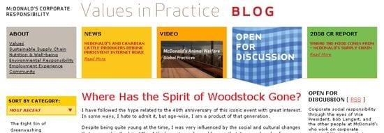 McDonald's gebruikt een weblog om met stakeholders in contact te komen over hun CSR activiteiten