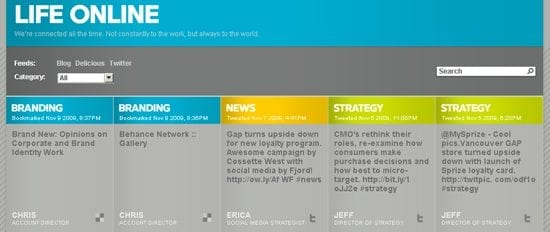 Internetbureau Fjord West aggregeert hun sociale activiteiten op een speciale 'live' pagina
