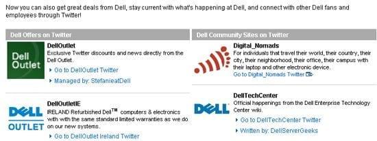 Dell activeert bezoekers met call to actions voor hun twitter accounts