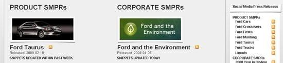 Ford heeft een social media newsroom ingericht ingericht zodat anderen gemakkelijk deze nieuwsberichten kunnen gebruiken op hun eigen website of blog