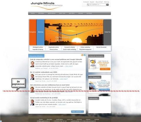 Figuur 1. De paginavouw op Jungleminds.nl