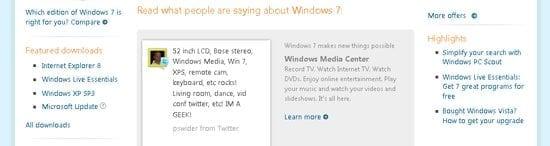 Microsoft gebruikt 'echte' meningen om Windows 7 aan te prijzen