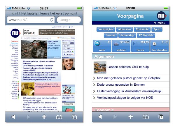 De gewone website van nu.nl en de mobiele versie ervan naast elkaar.