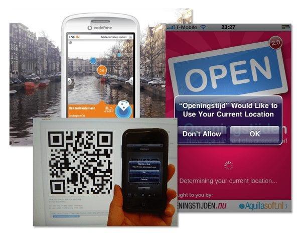 Voorbeelden van gebruik van smartphone-functionaliteiten: augmented reality, GPS en het scannen van QR-codes.