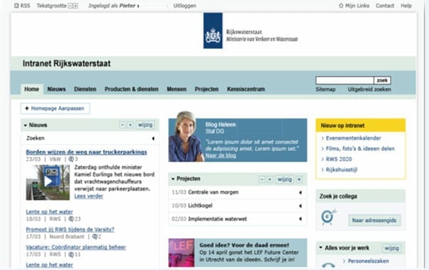 Voorbeeld van de dummy van de nieuwe intranetsite van Rijkswaterstaat
