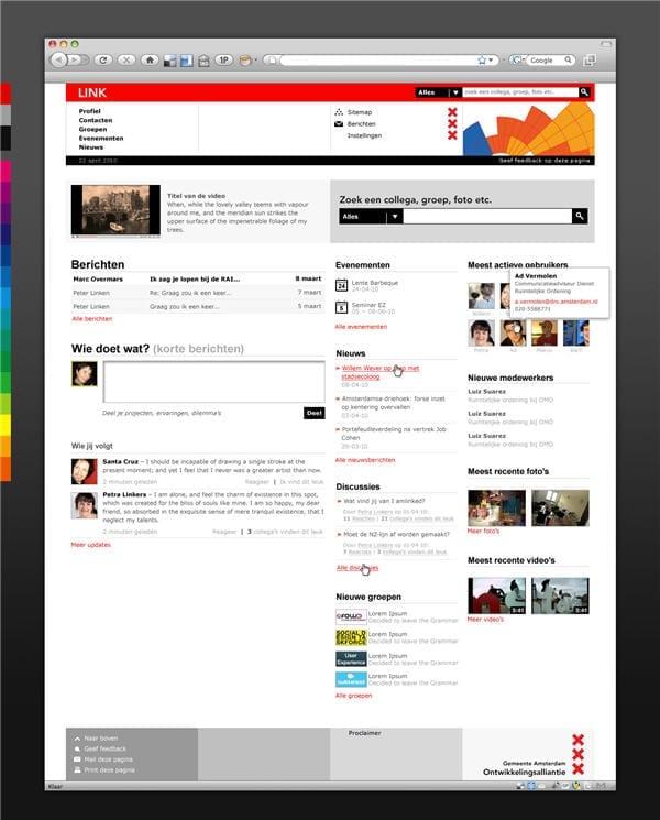 Demo versie van de homepage van LINK, ontwikkeld door Jungle Minds