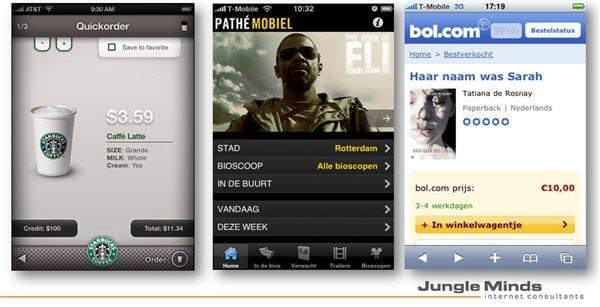 Screenshots: Starbucks, Pathé Mobiel en Bol.com
