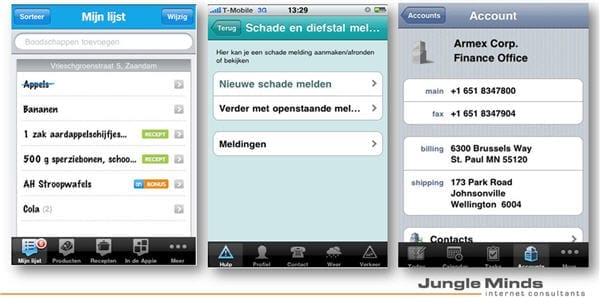 Screenshots: Appie, Interpolis Schadehulp en Oracle Sales assistent