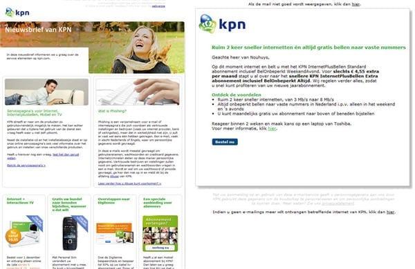 Figuur 4. KPN varieert in de opmaak afhankelijk van het doel van de mail; informatief, verkoopgericht en loyaliteitgericht
