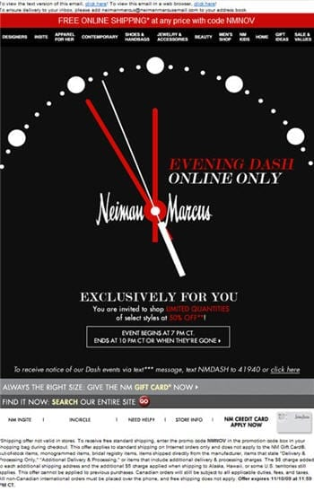 """Figuur 6. Neiman Marcus speelt helemaal in op """"hurry up marketing"""" en exclusiviteit voor de lezer"""