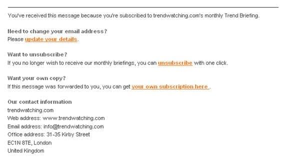 Figuur 8. Persoonlijke sign off en footer met opties om e-mailadres aan te passen of uit te schrijven