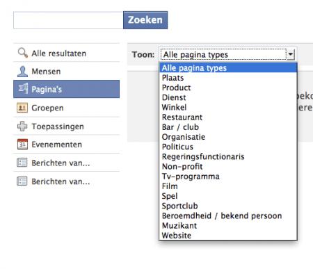 Facebook zoekfunctie