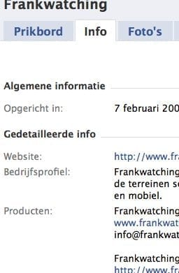 Facebook info tab