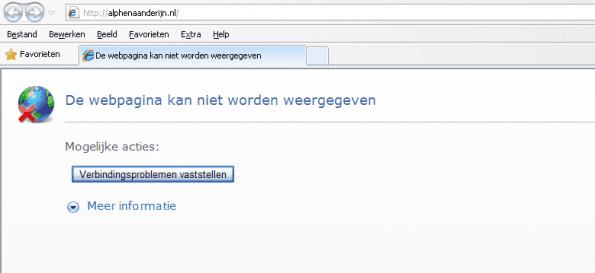 foutmelding: pagina wordt niet weergegeven
