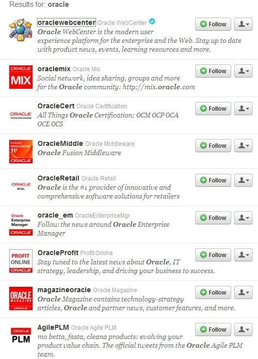 Oracle op Twitter