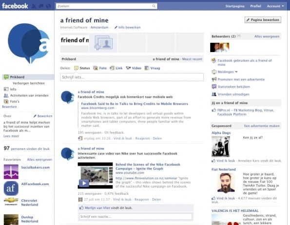 Standaard Facebook pagina back-end