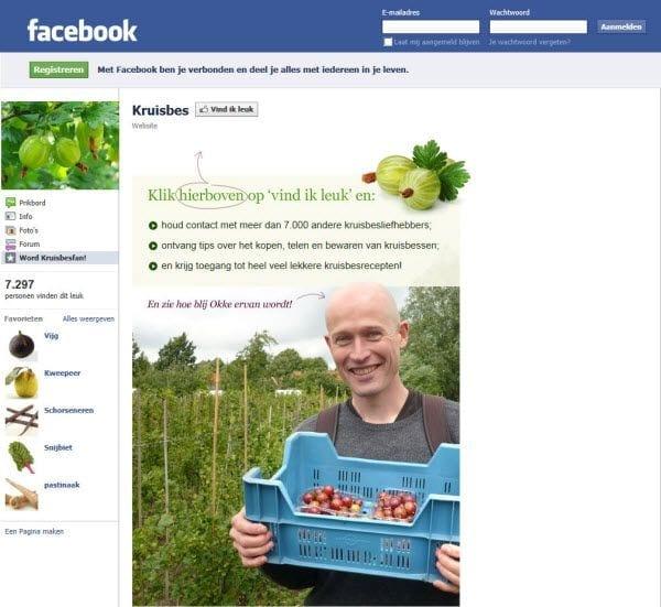 Kruisbes landingspage Facebook