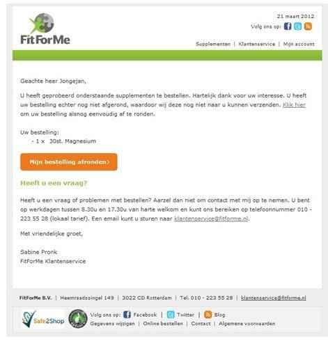 E-mail op basis van website gedrag