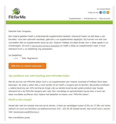E-mail op basis van eerdere aankoop