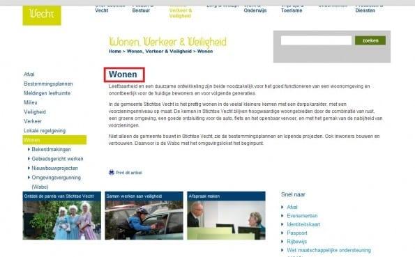 Pagina Wonen, Verkeer en Veiligheid stichtsevecht.nl
