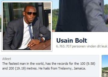 Usain Bolt op Facebook