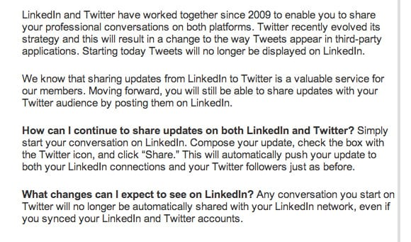 LinkedIn-Twitter koppeling