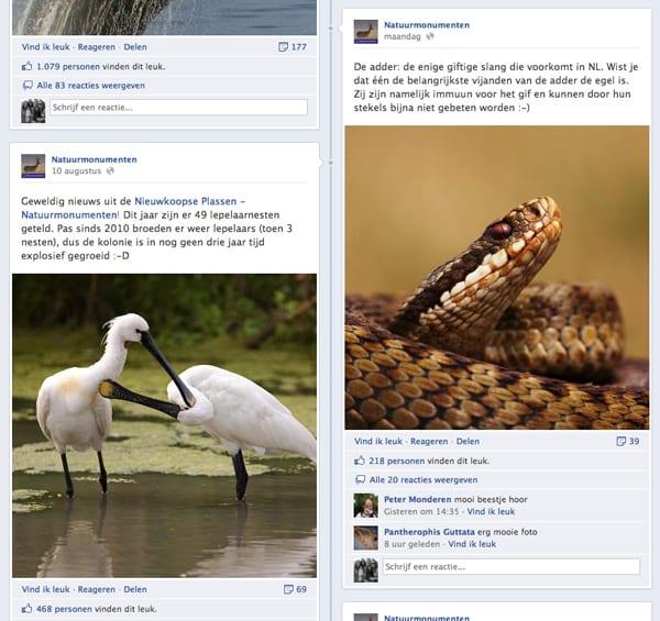 Statusupdates van Natuurmonumenten op Facebook