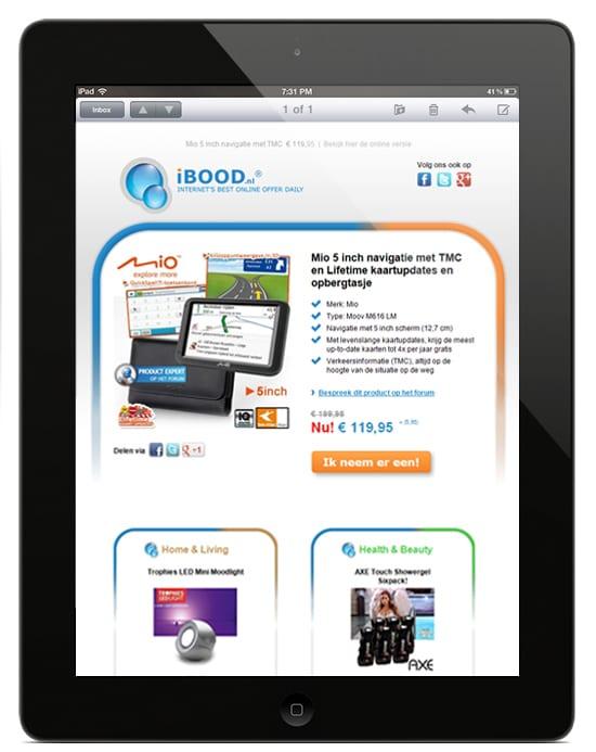 iBood e-mail op iPad