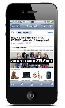 Wehkamp e-mail op iPhone