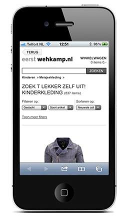 Wehkamp website op iPhone