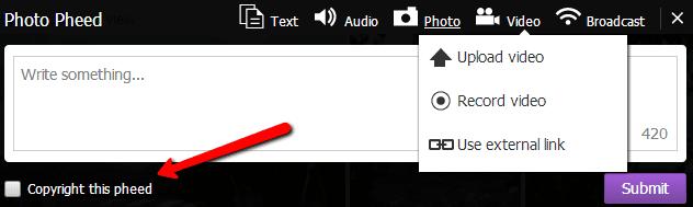 Pheed - Copyright op status updates