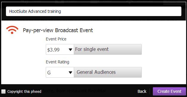 Pheed - inkomsten via live broadcast events