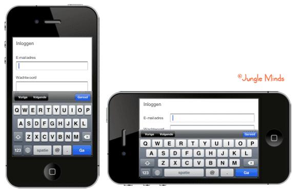 Formulieropbouw aanpassen op positie telefoon