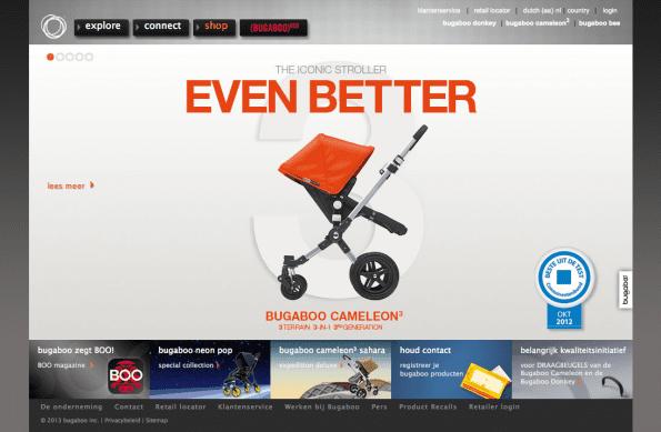 Bugaboo demonstreert hun product op de website