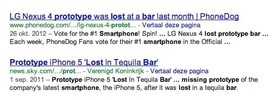 """Zoekresultaat in Google van """"lost smartphone bar"""""""