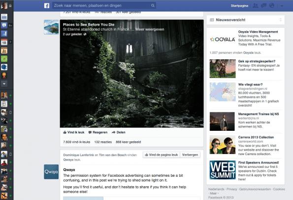 Facebook nieuwsfeed