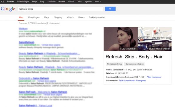 Voorbeeld bedrijfsvermelding Google