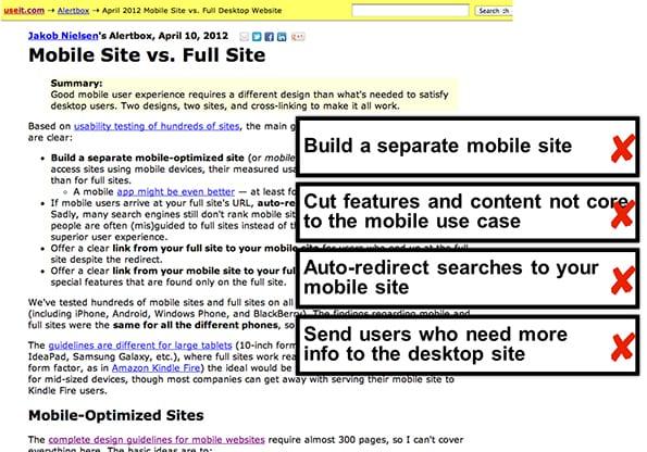 mobile site vs full site